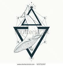 Whale Tattoo Geometric Style Mystical Symbol Of Adventure Dreams Creative
