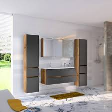badezimmer set inkl doppelwaschbecken lourosa 03 in wotaneiche nb mi