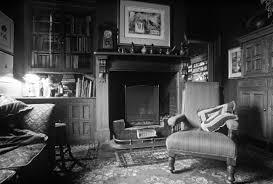 3d fototapete wohnzimmer mit kamin schwarz weiß