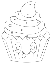 Kawaii Cupcake With Stars Coloring Page