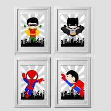 Vintage Superhero Wall Decor by Superhero Wall Art Printed Superhero Bedroom Decor