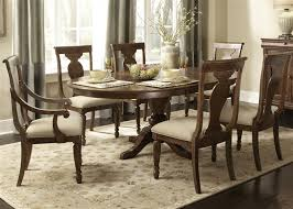 rustic tradition oval pedestal table 5 piece dining set in rustic
