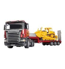 Bruder Toys SCANIA R-series Low Loader Truck W/ CAT Bulldozer 03556 ...