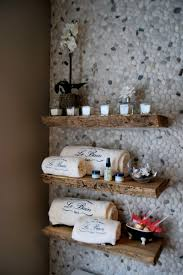 Reclaimed Solid Wood Live Edge Slab Shelves Contemporary Bathroom