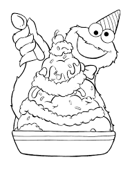 Cookie Monster Ice Cream Sundae Coloring Pages
