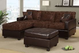 Poundex 3pc Sectional Sofa Set by All In One Floral Print Sectional Sofa With Ottoman Chocolate