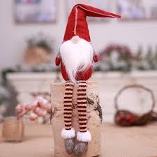Christmas Santa Claus Doll Toy Long Leg Plush Handmade Tree Ornaments For Home Xmas