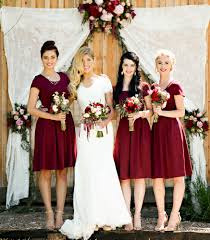 ivy a line modest bridesmaid dress in cranberry red