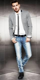 men u0027s grey cotton blazer white dress shirt blue jeans black
