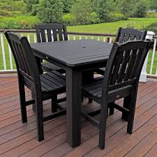 5 Piece Bar Height Patio Dining Set by Highwood Eco Friendly Synthetic Wood Lehigh 5 Piece Square Counter