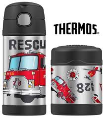 100 Fire Truck Lunch Box NEW THERMOS FUNTAINER FOOD CONTAINER DRINK BOTTLE Insulated