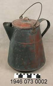 Tinned Copper Coffee Pot With Removeable Lid And Bail Handle Bottom Shows Evidence Of Burnining