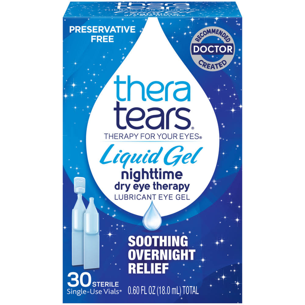 Thera Tears Eye Gel, Lubricant, Nighttime, Liquid Gel - 30 vials, 0.6 fl oz