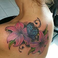 Butterfly Tattoos With Flowers On Upper Back