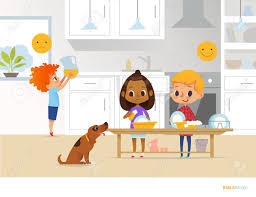 Children Doing Daily Routine Activities In Kitchen Two Kids Washing Dishes And Red Head Boy