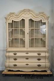 Henredon Breakfront China Cabinet by Vintage Dorothy Draper Viennese Collection Bombe China Cabinet On