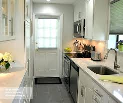 Galley Kitchen White Shaker Style Cabinets In A Ideas With Island