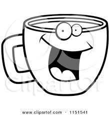 Black And White Happy Smiling Coffee Cup Face