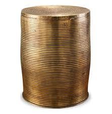 Unni Antique Brass Round Garden Stool Accent Side Table
