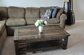 Contemporary Rectangle Reclaimed Wood Coffee Table With Grey Sofa And Flowers Plus Fury Rug Also Side Lamp For Rustic Living Room Design Furniture
