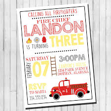 Car And Truck Birthday Party Invitations Fire Free Envelopes Engine ...