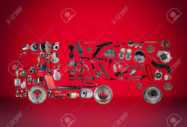 100 Truck Trailer Parts Images Assembled From New Spare On Red Background