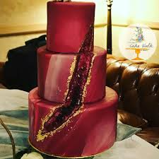 Stunning Crimson Red Geode Cake Marbles Fondant 24k Gold Leaf Wedding Love