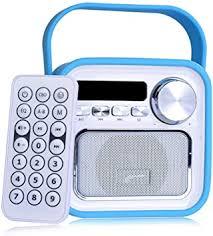 bluetooth lautsprecher mit radio fm in blau mini aux usb anschluss fernbedienung uhrzeit badezimmer küchenradio badradio kinderradio tragbar 5w klinke