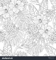 Tropical Flowers And Leaves Seamless Pattern Page Of Coloring Book For Adults Children