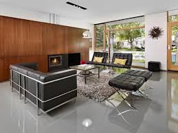 Modern Living Room Idea In Edmonton With White Walls And A Standard Fireplace