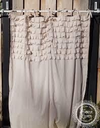 gardine vorhang 110 x 240 puderbeige rüschen landhaus shabby