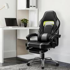 RECLINING LEATHER SPORTS RACING OFFICE DESK CHAIR GAMING