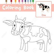 Coloriage Danimaux De Vache Pour La Feuille De Travail éducative D
