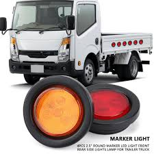 100 Truck Marker Lights Yosoo 4Pcs 25inch Round LED Light Rear Side Lamp For Trailer SUV AmberRed