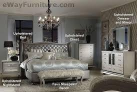 Metallic Graphite King Leather Bed 5PC Set 2 Nightstands Dresser