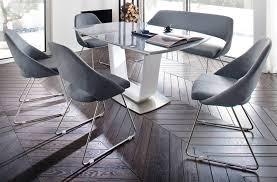 esstisch xander in hochglanz weiß echt lack säulentisch ausziehbar glas grau 180 230 x 95 cm mit synchronauszug