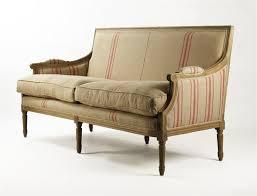 St Germain French Style Red Stripe Linen Louis XVI Sofa
