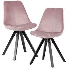 wohnling weiches esszimmerstuhl 2er set ohne armlehnen in rosa samt küchenstühle modern mit schwarzen holzbeinen schalenstuhl gepolstert 110 kg