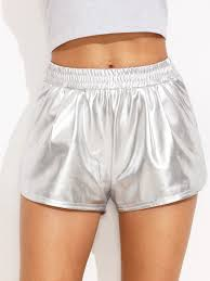 silver pocket elastic waist dolphin hem shorts shein sheinside