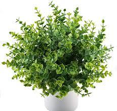 mihounion künstliche pflanzen kunststoff stäucher kunststoff pflanzen simulation pflanzen eukalyptus für küche garten badezimmer fensterbank ornament