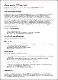 Skills To Put On A Resume For Security Job Caretaker CV Sample MyperfectCV