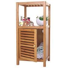 badregal hwc b18 badezimmer badschrank standregal mit tür bambus 80x36x34cm
