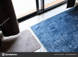 Blue Carpet Softness Texture Decoration Floor Interior Modern House Photo By Sutichak