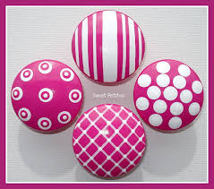 hand painted knob dresser drawer or nail cover hot pink textures