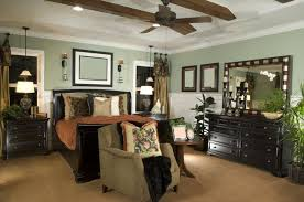 Sages And Beiges Are Popular Color Choices For Bedrooms With Darker Furniture