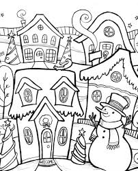 Village In Winter Coloring Pages