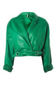 cropped retro style leather biker jacket topshop