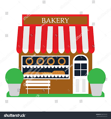 Bakery shop building front veiw in flat style Bakery facade Vector illustration
