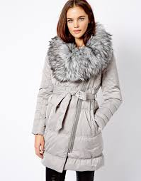 asos river island long down padded jacket with fur collar in gray