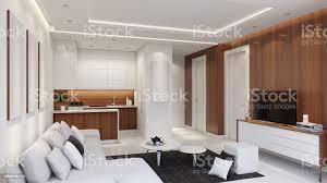 kleine moderne wohnung interieur wohnzimmer mit kleiner küche und mit holz wandpaneele stockfoto und mehr bilder baum